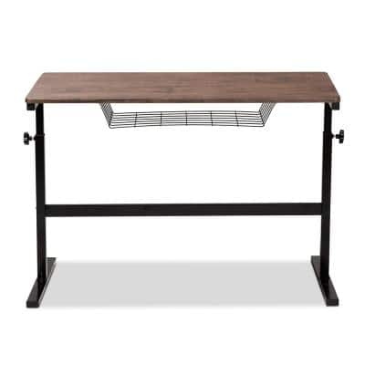 Anisa 39 in. W Walnut and Black Wood Desk with Adjustable Height