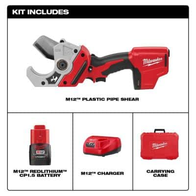M12 12-Volt Lithium-Ion Cordless PVC Shear Kit with One 1.5 Ah Battery, Charger and Hard Case