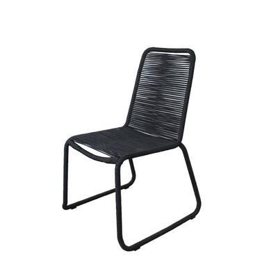 Neil Steel Rope Outdoor Dining Chair in Black (2-Pack)