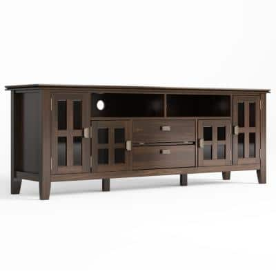 Artisan Solid Wood 72 in. Wide Transitional TV Media Stand in Tobacco Brown for TVs up to 80 in.