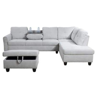 Star Home Living-3-Piece-Gray-Fabric-6 Seats-L-Shaped-Left Facing-Sectionals