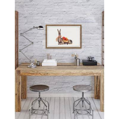 """20 in. H x 30 in. W """"Orange Pack Llama"""" by Marmont Hill Framed Printed Wall Art"""