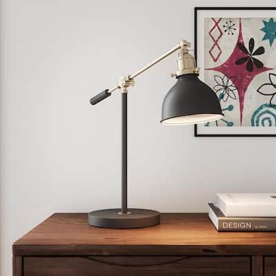 19.75 in. Matte Black and Antique Brass Industrial Balance Desk Lamp