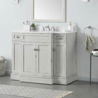 Teagen 42 in. W Bath Vanity in Vintage Grey with Cultured Stone Vanity Top in White with White Basin