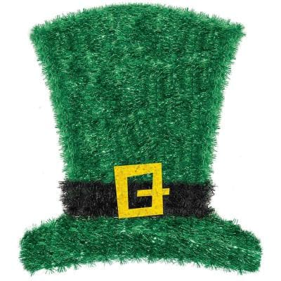 9 in. x 11.5 in. St. Patrick's Day Tinsel Leprechaun Hat Decoration (6-Pack)