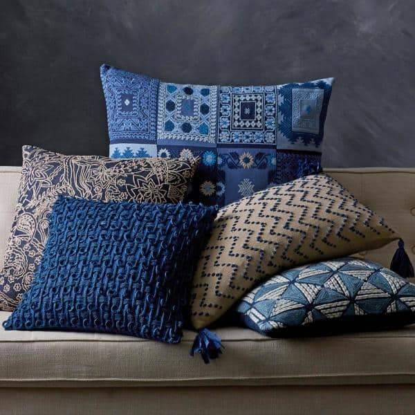 The Company Store Embroidered Blue Geometric 18 In X 18 In Decorative Throw Pillow Cover 50274 18x18 Geo The Home Depot