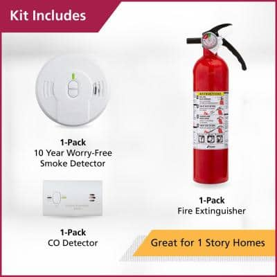 10 Year Worry-Free Home Fire Safety Kit, Battery Powered Smoke Detector with CO Detector & Fire Extinguisher