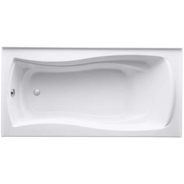 Kohler Mariposa 6 Ft Left Hand Drain With Integral Tile Flange Rectangular Alcove Soaking Tub In White K 1259 La 0 The Home Depot