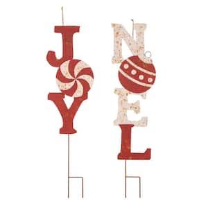 36 in.H Rusty Metal JOY & NOEL Christmas Yard Decor Stake or Wall Decor(Set of 2)