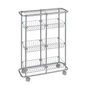 6-Shelf Powder-Coated Metal Wheeled Trolley