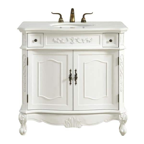 White Marble Vanity Top And Basin, Antique White Bathroom Vanity Home Depot