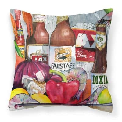 14 in. x 14 in. Multi-Color Lumbar Outdoor Throw Pillow New Orleans Beers and Spices Decorative Canvas Fabric Pillow