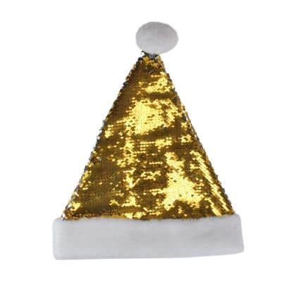 15 in. Gold and Silver Reversible Sequined Christmas Santa Hat with Faux Fur Cuff