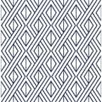 Diamond Navy And White Geometric Vinyl Peel & Stick Wallpaper Roll (Covers 30.75 Sq. Ft.)