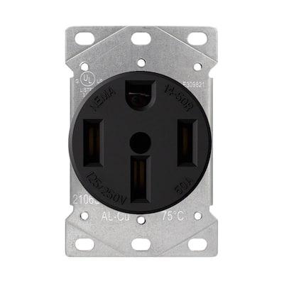 50 Amp 125/250V, NEMA 14-50R Flush Mount Power Outlet, Single Straight Blade Range and Dryer Outlet Grounding, Black