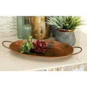 New Traditional Metallic Hammered Oval Metal Trays (Set of 3)
