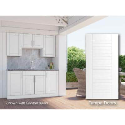 Tampa Shell White 22-Piece 67.25 in. x 84 in. x 25 in. Outdoor Kitchen Cabinet Set