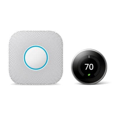 Nest Learning Thermostat 3rd Gen in Stainless Steel and Nest Protect Battery Smoke and Carbon Monoxide Detector