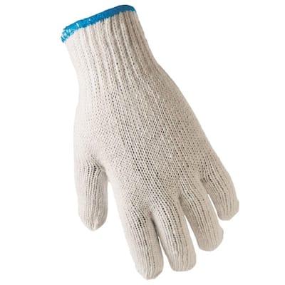 Fits All White String Knit Gloves (12-Pack)