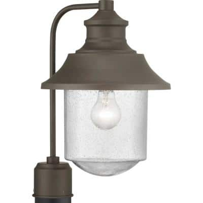 Weldon Collection 1-Light Architectural Bronze Clear Seeded Glass Farmhouse Outdoor Post Lantern Light