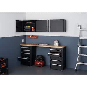 41.3 in. H x 72.2 in. W x 19 in. D Steel Garage Cabinet Set in Black (6-Piece)