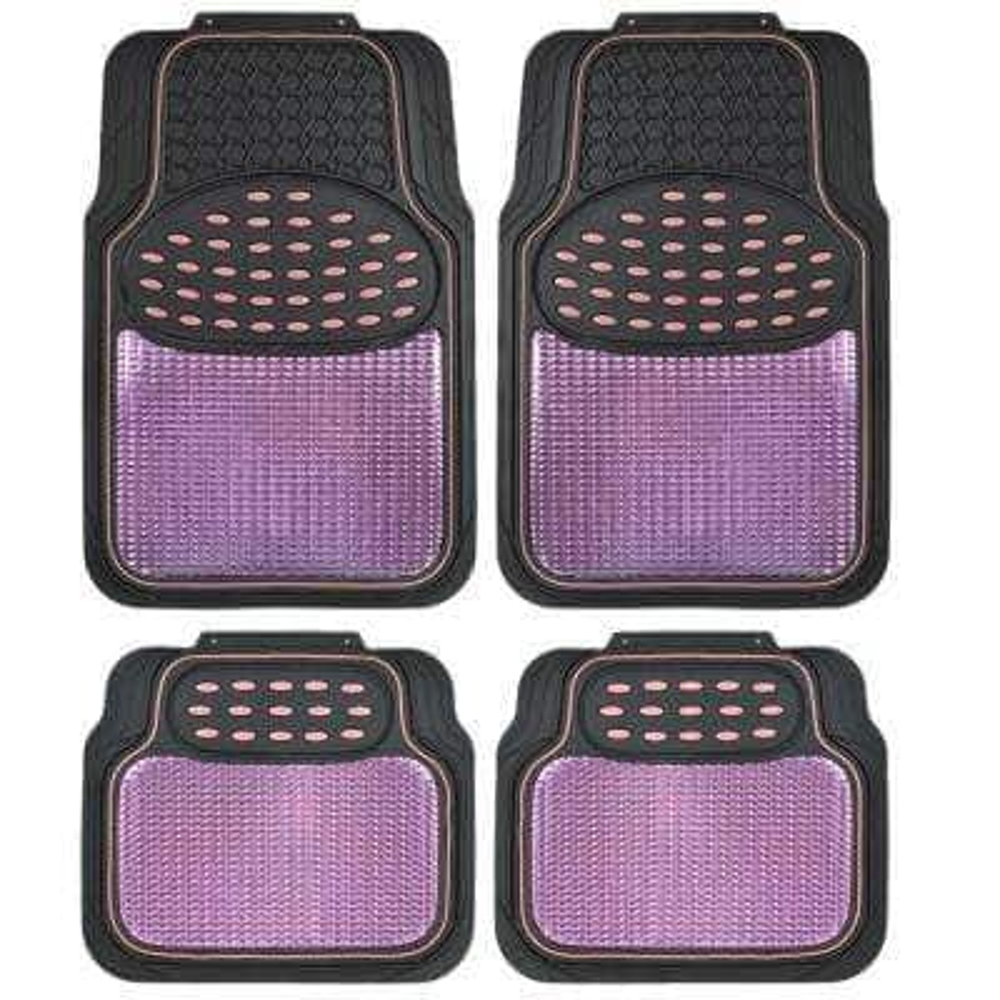 Rubber Metallic MT-614 Pink Trimmable Heavy Duty  4-Piece Car Floor Mats