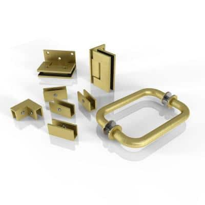 78 in. 90° Wall Hinged Hardware Pack in Satin Brass with Handle