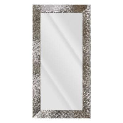 Large Rectangle Shiny Silver Beveled Glass Contemporary Mirror (55.5 in. H x 31.5 in. W)
