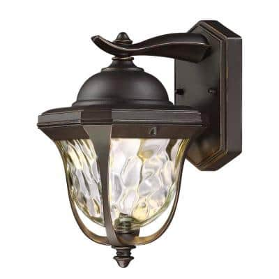 11 in. LED Aged Bronze Patina Outdoor Wall Lantern Sconce with Clear Hammered Glass Shade