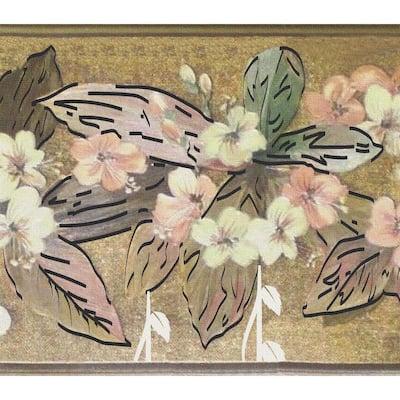 Falkirk Dandy Green, Beige, Pink, Gold Flowers, Leaves Floral Peel and Stick Wallpaper Border