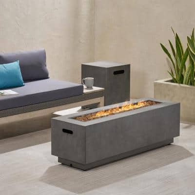 Wellington 15.25 in. x 19.75 in. Rectangular Concrete Propane Fire Pit in Dark Grey with Tank Holder