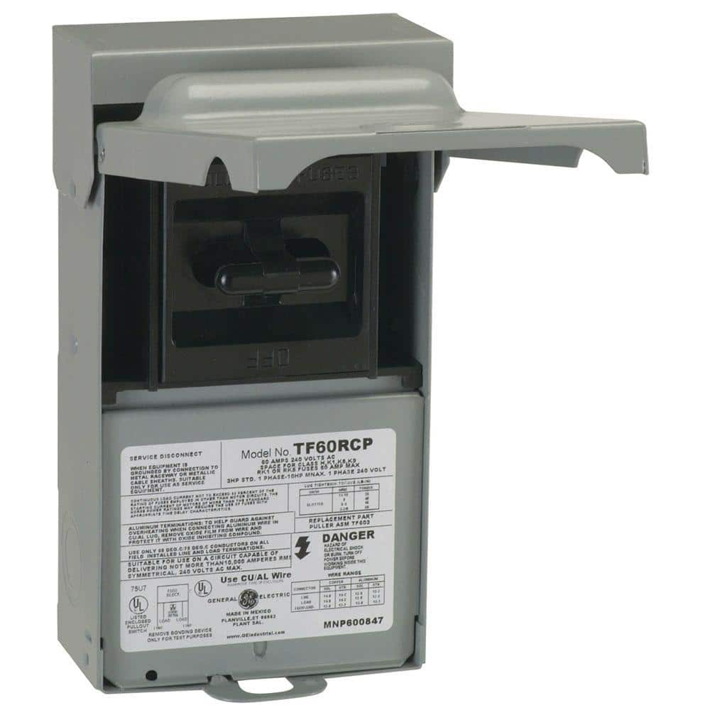 GE 60 Amp 240-Volt Fused AC Disconnect-TF60RCP - The Home Depot | Hvac Fuse Box |  | The Home Depot