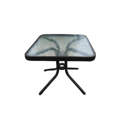 20 in. Square Tempered Glass-Top Black Outdoor Side Table with Aluminum Frame