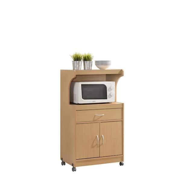 Hodedah Beech Microwave Cart With