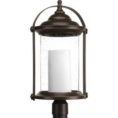 Whitacre Collection 1-Light Integrated LED Outdoor Antique Bronze Post Light