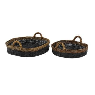 Black Wood Eclectic Tray (Set of 2)
