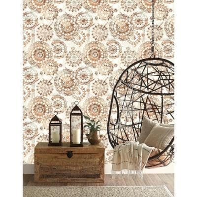 Orange and White Bohemian Medallion Peel and Stick Wallpaper (Covers 28.18 sq. ft.)