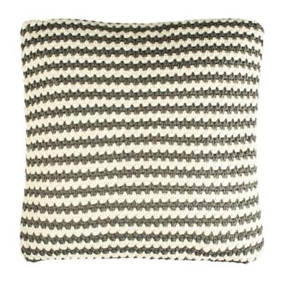 Suki Gray/Beige Square Outdoor Throw Pillow