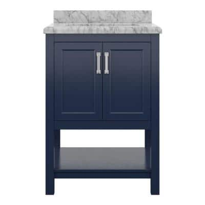 Everett 25 in. W x 22 in. D Vanity Cabinet in Aegean Blue with Carrara Marble Vanity Top in White with White Basin