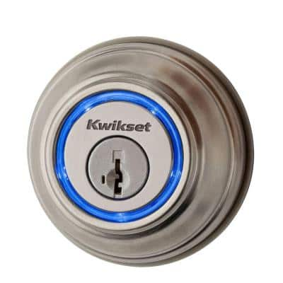 Kevo 2nd Gen Satin Nickel Single Cylinder Touch-to-Open Bluetooth Smart Lock Deadbolt Works with Many Smart Devices