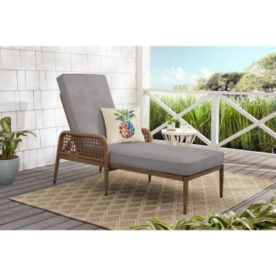 Coral Vista Brown Wicker Outdoor Patio Chaise Lounge with CushionGuard Stone Gray Cushions