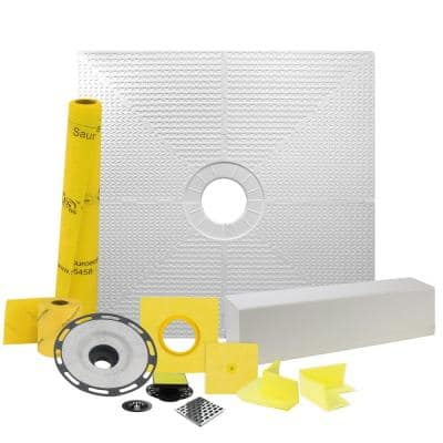 Pro GEN II 48 in. x 48 in. Tile Shower Waterproofing Kit with Center Drain and PVC Flange
