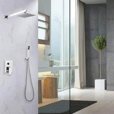 Modern Wall Bar Shower Kit 1-Spray 10 in. Square Rain Shower Head with Hand Shower in Chrome (Valve Included)