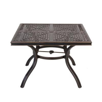Gold Aluminum Frame Heavy-duty Dining Table with Umbrella Hole