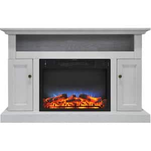 Kingsford 47 in. Electric Fireplace with Multi-Color LED Insert and Entertainment Stand in White