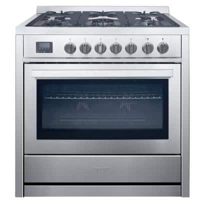 36 in. 3.8 cu. ft. 5-Burners Dual Fuel Gas Range in Stainless Steel with True European Convection Oven