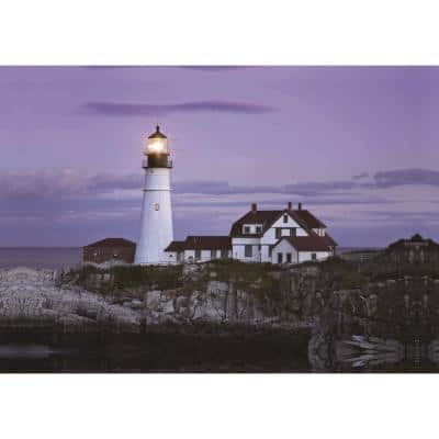 15.75 in. x 23.5 in. LED Lighted Coastal Lighthouse Home with Purple Sunset Canvas Wall Art