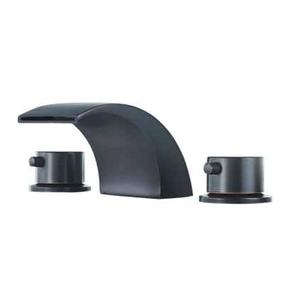 8 in. Waterfall Widespread 2-Handle Bathroom Faucet With Led Light In Oil Rubbed Bronze