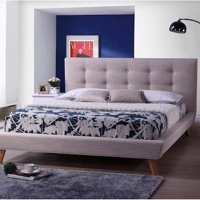 Jonesy Beige King Upholstered Bed