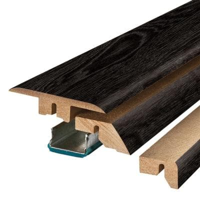 Pure Black Oak 0.75 in. Thick x 2.37 in. Wide x 78.75 in. Length Laminate 4-in-1 Molding